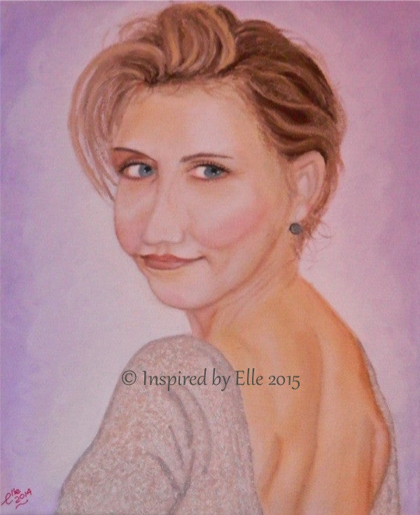 Female celebrity portrait Painting The Actress Elle Smith