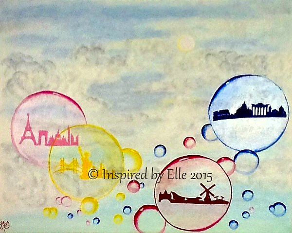 Abstract Art Painting Cities in Bubbles by Elle Smith UK Artist contemporary bubble art oil painting New York Paris Rome Amsterdam Inspired By Elle