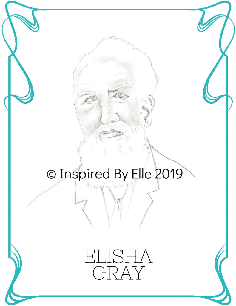 Colour Us Back from History Men - Image sketch of Elisha Gray by Elle Smith