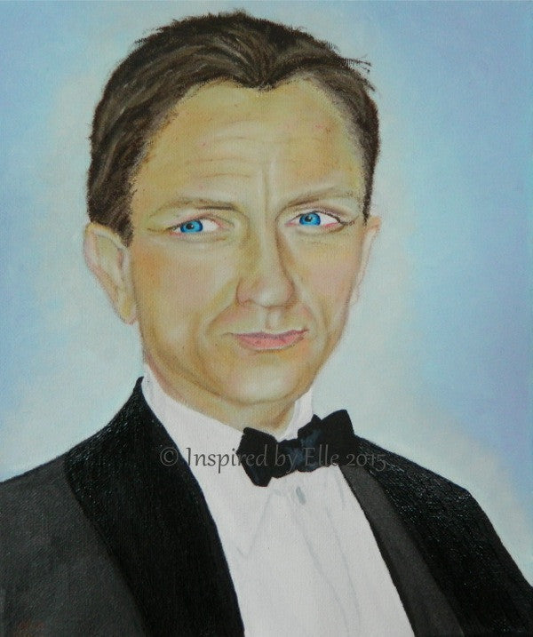 Male Portrait Painting Secret Agent by Elle Smith Inspired By Elle