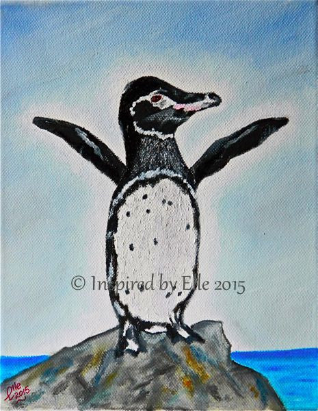 Animal Art Painting The Galapagos Penguin oil paint Elle Smith endangered species Inspired By Elle