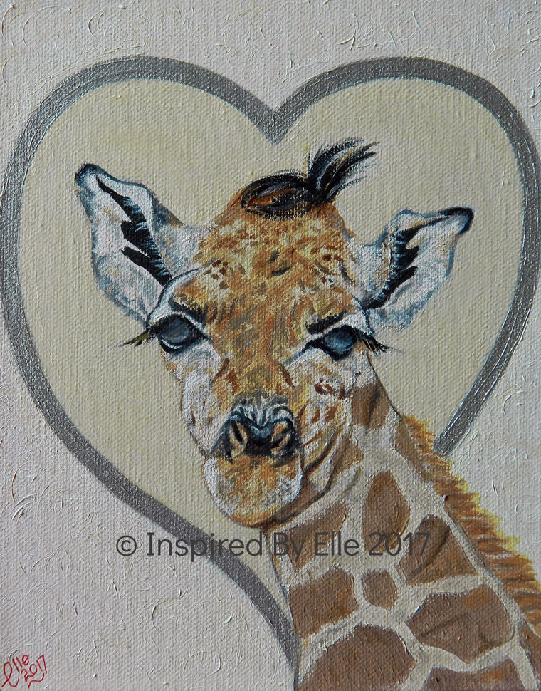 animal art painting Rothschilds giraffe endangered species inspired By Elle Smith