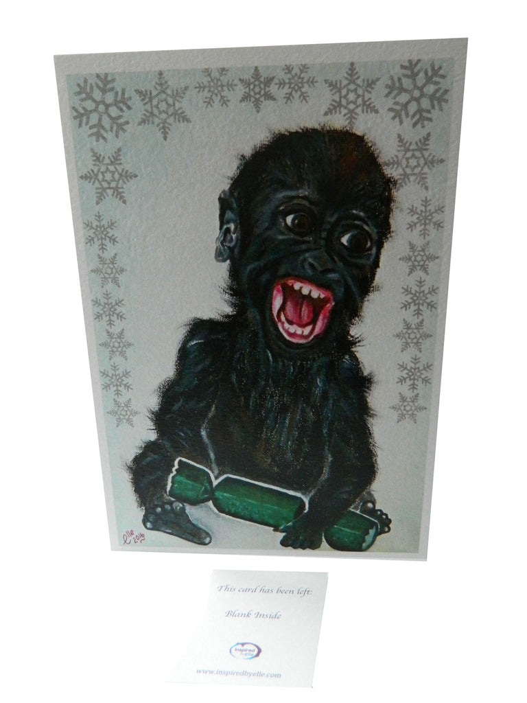 Luxury Christmas Greeting Card featuring the endangered animal art of Western Lowland Gorilla by Elle Smith Inspired by Elle