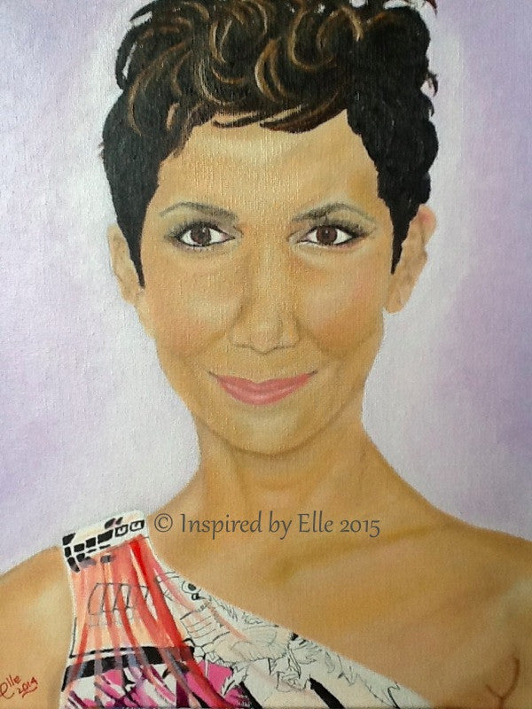 Halle Berry Female Celebrity Portrait Art Painting Inspired by Elle Smith Beautiful Woman Portrait