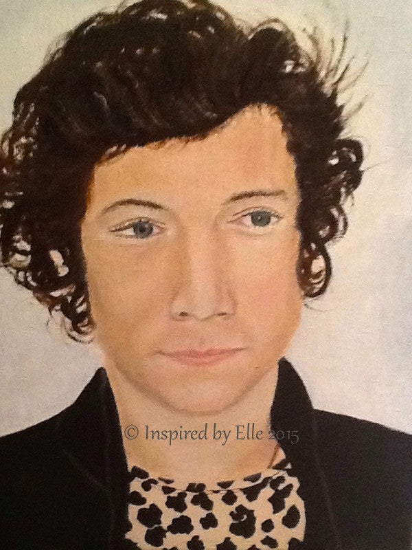 Harry Styles Inspired Male Celebrity Portrait Art Painting Elle Smith Inspired by Elle