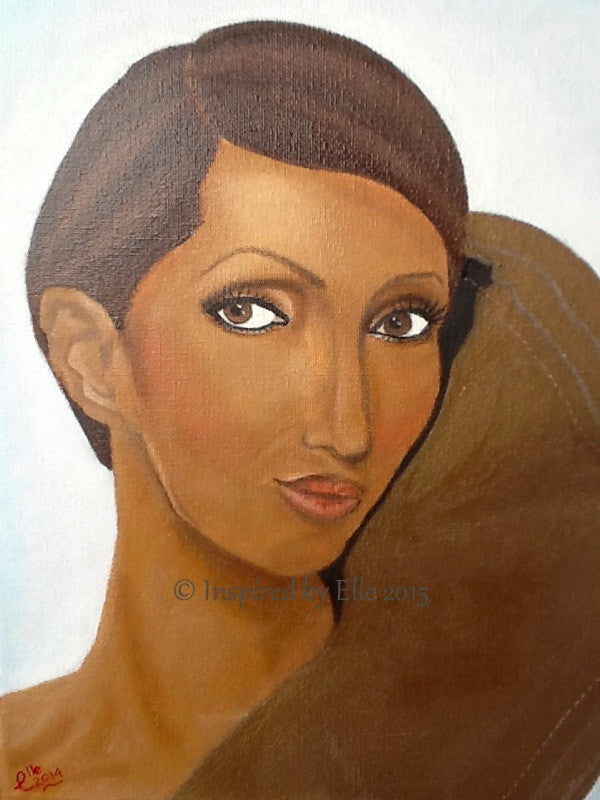 Portrait Art painting African Queen by Elle Smith Celebrity art Inspired By Elle