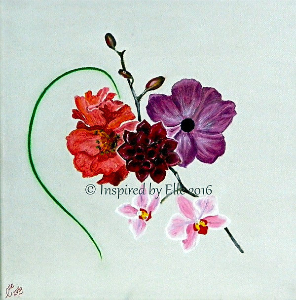 Flowers Oil Painting - Love Me Back Conceptual Art - Inspired By Elle Smith