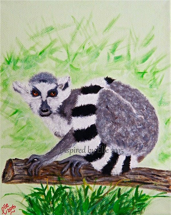 Animal Art Painting Ring Tailed Lemur of Madagascar oil painting Elle Smith endangered species Inspired By Elle