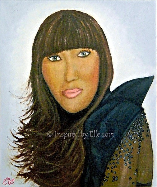 Female Celebrity Portrait Painting Superstar Elle Smith Inspired by Elle