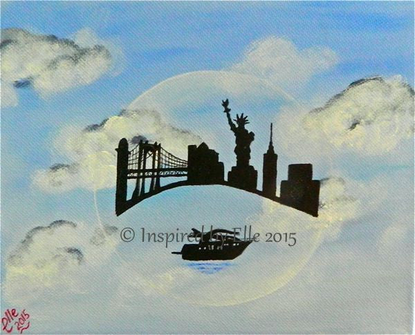 New York in a Bubble art painting in oil inspired by Elle Smith