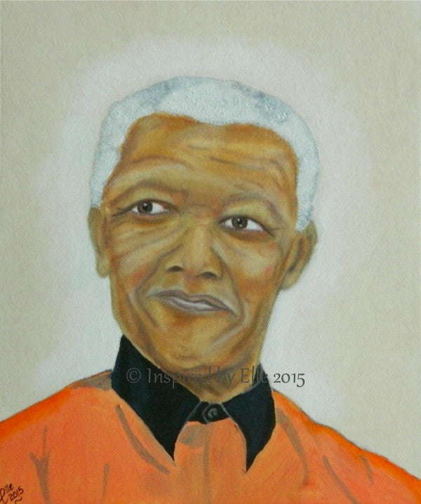 Nelson Mandela Free At Last Male Celebrity Portrait Painting - Inspired By Elle Smith