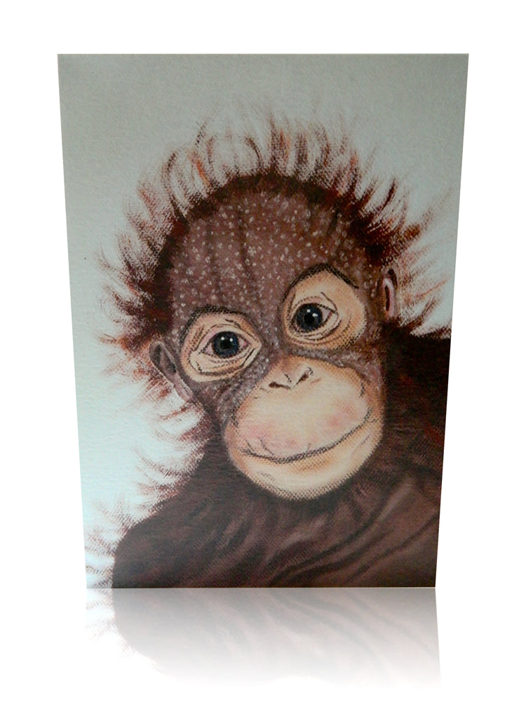 Luxury Animal Art Greeting Card of Sumatran Orangutan Endangered Animal Card by Elle Smith Inspired By Elle