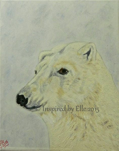 Animal Art Painting The Polar Bear oil paint Elle Smith endangered species Inspired By Elle