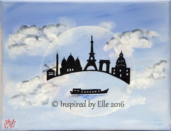Paris in a Bubble art painting oil inspired by Elle Smith