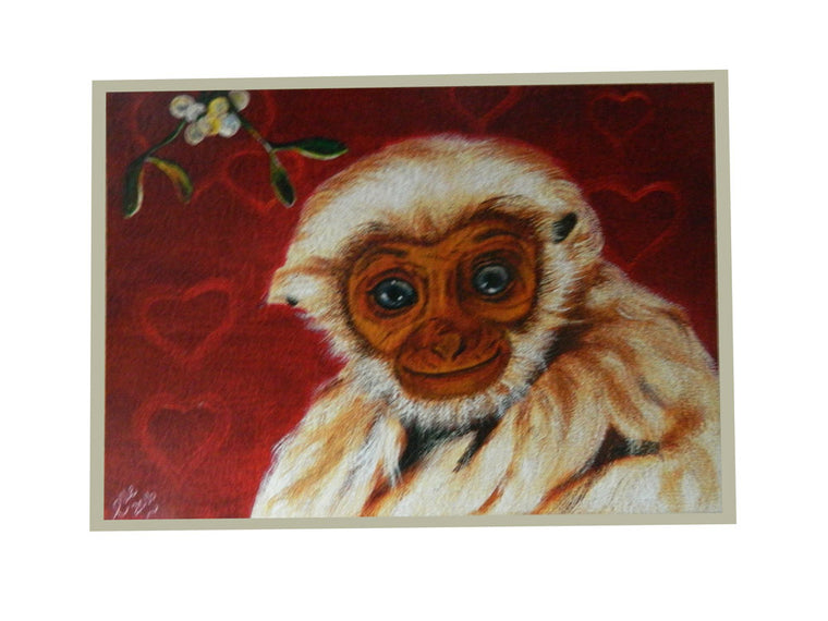 Luxury Greeting card featured endangered Animal Art of Pileated Gibbon by Elle Smith Inspired By Elle