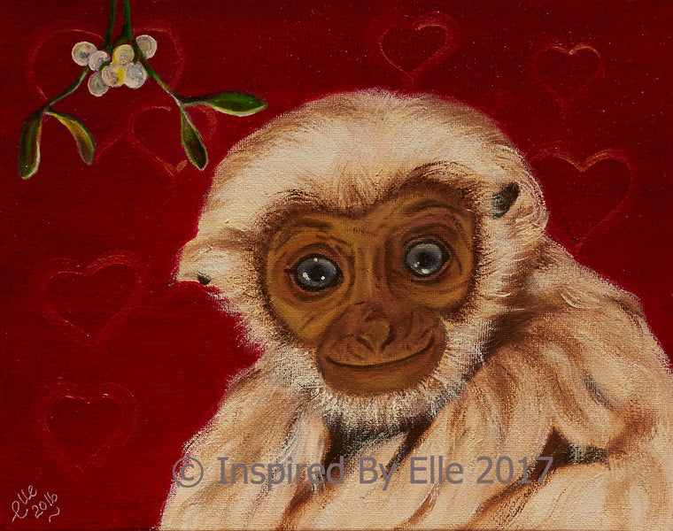 Pileated Gibbon Oil Painting Endangered  Species Animal Art Painting Inspired by Elle Smith