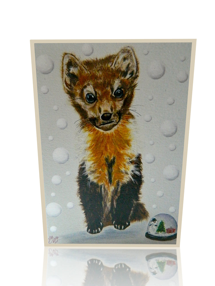 Luxury Greeting card of Snowy Pine Marten by Elle Smith Inspired By Elle endangered animal art card