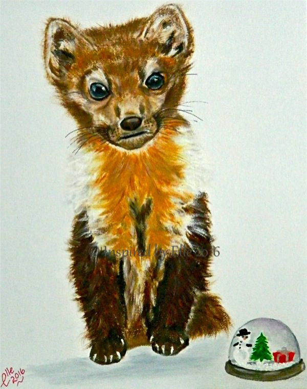Newfoundland Pine Marten endangered species animal art painting oils inspired by Elle Smith Artist