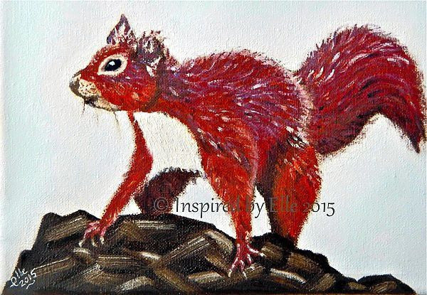 Animal Art Painting The Red Squirrel oil paints Elle Smith endangered Inspired By Elle