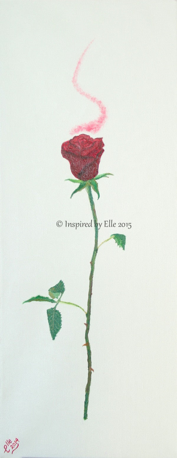 Flower Art Scent of a Rose Oil Painting by Elle Smith Inspired By Elle
