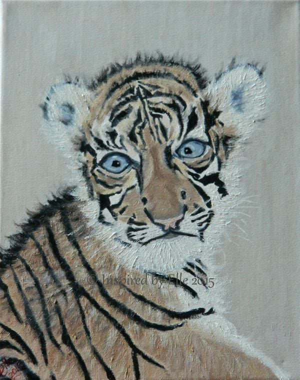 Animal Art Painting Endangered Species The Sumatran Tiger Cub oil paints Elle Smith Inspired By Elle