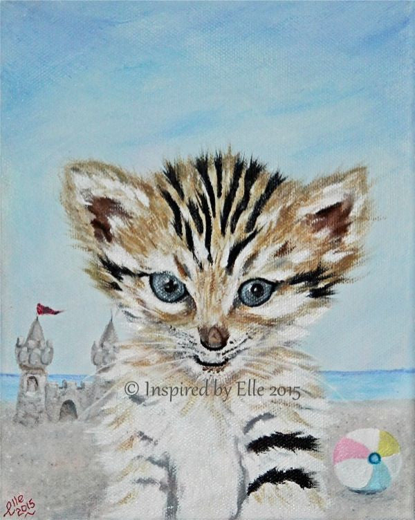 Animal Art Painting Sand Cat Beach Party by Elle Smith Inspired By Elle endangered species