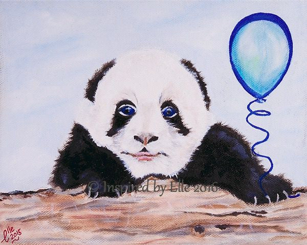 Animal Art Painting Giant Panda and his Blue Balloon Inspired by Elle Smith Artist endangered species