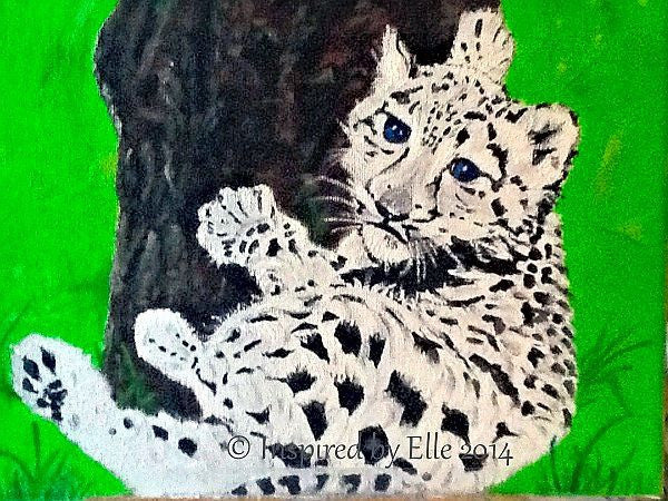 The Baby Snow Leopard endangered animal art painting Elle Smith Inspired By Elle
