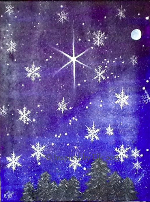 Abstract Art Painting Snowflakes and Starlight Elle Smith Artist Inspired By Elle