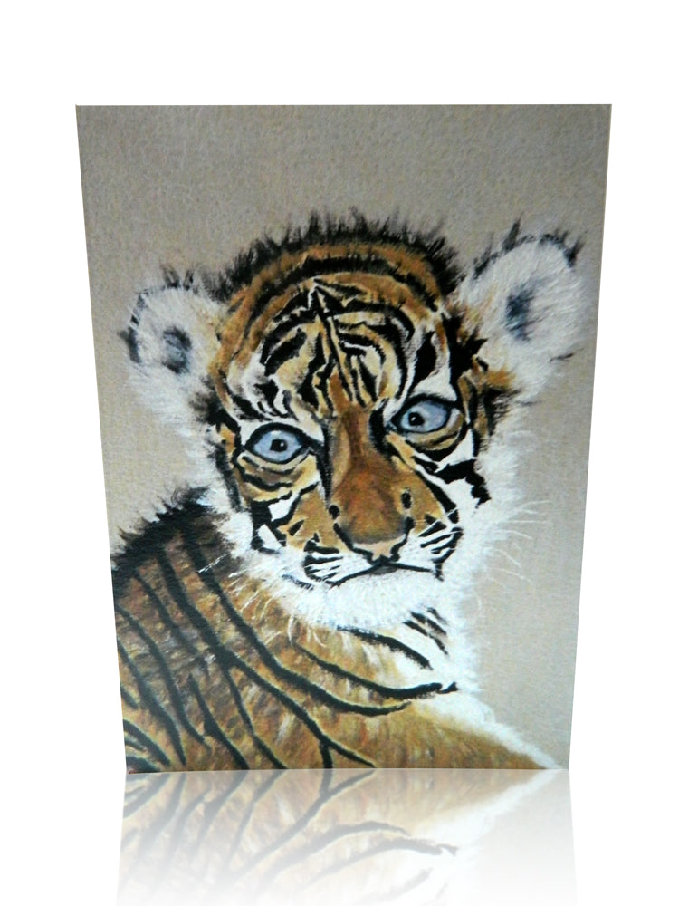 Luxury Animal Art Greeting Card of Sumatran Tiger by Elle Smith Inspired by Elle