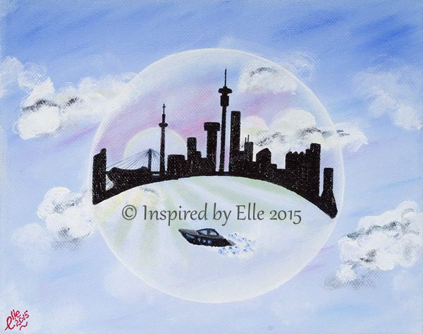 Bubble Art Sunset on Johannesburg oil art painting skyline silhouette Elle Smith