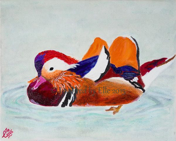 Endangered Animal Art Painting Colourful The Mandarin Duck oil paints Elle Smith Inspired By Elle