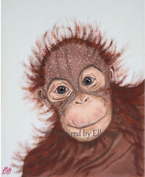 Animal Art Painting The Sumatran Orangutan oil paints endangered species Elle Smith Inspired By Elle
