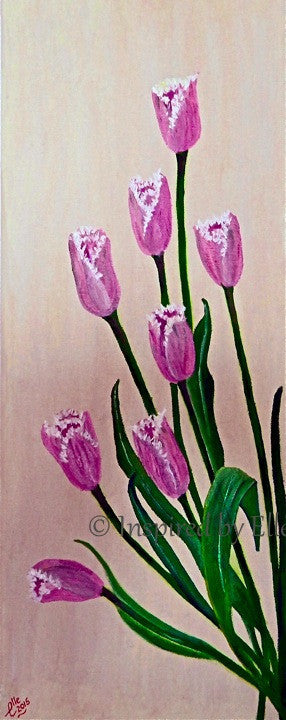 Flowers Contemporary Art Painting - Pink Tulips - Inspired By Elle Smith