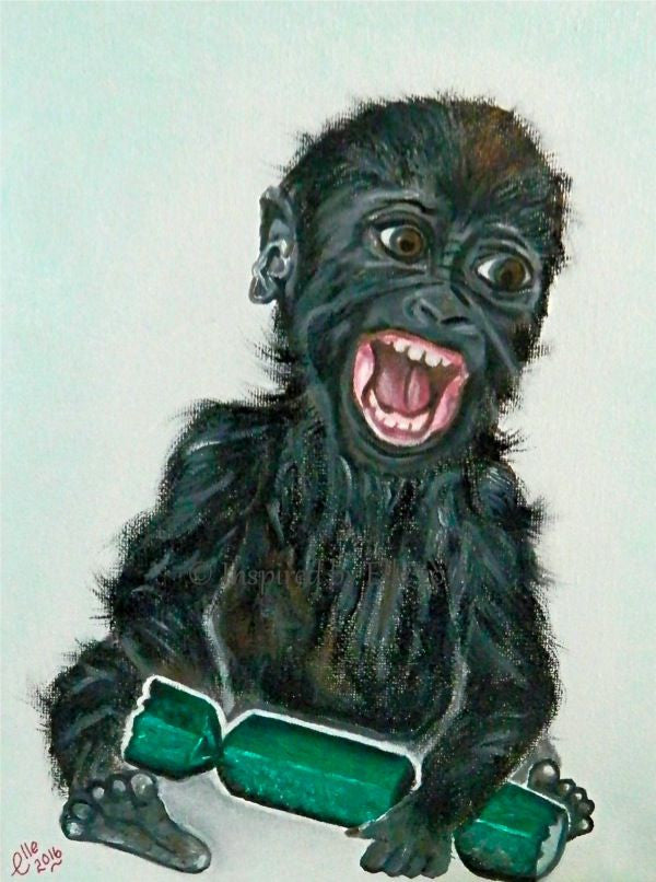 animal art painting western lowland gorilla endangered species oil paints Elle Smith Inspired By Elle