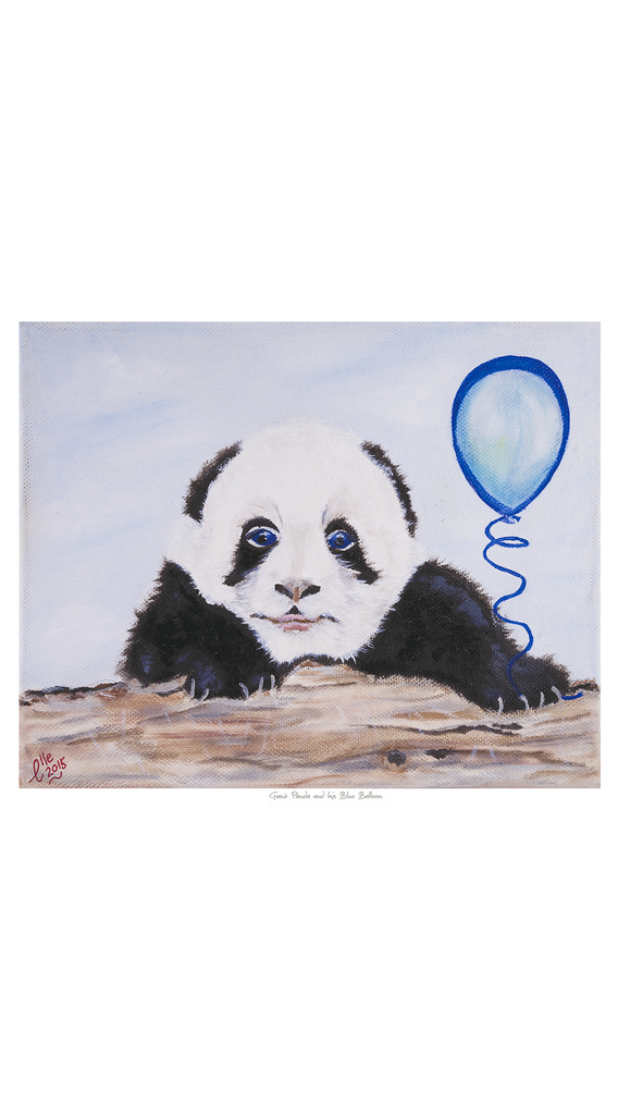 Limited Edition Giclee Print Giant Panda and Blue Balloon Endangered Species Animal Art Print Elle Smith Inspired By Elle
