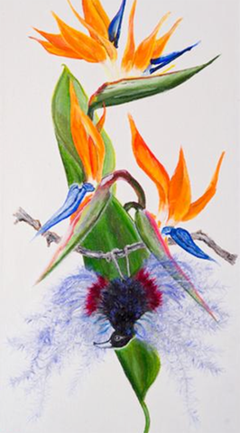Bird of Paradise oil painting