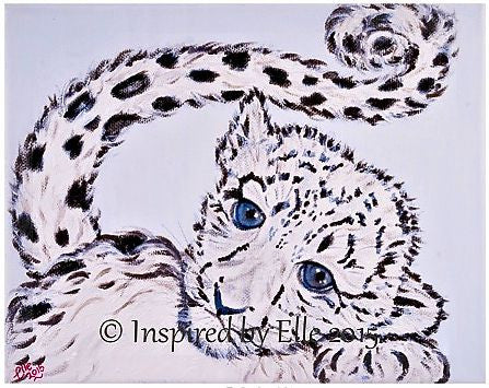 Animal Art Painting The Snow Leopard Cub Oil Paints Elle Smith endangered species monochrome Inspired By Elle