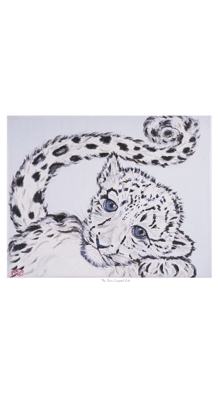 Limited Edition Giclee Print Snow Leopard Cub endangered species animal art print Elle Smith Inspired By Elle