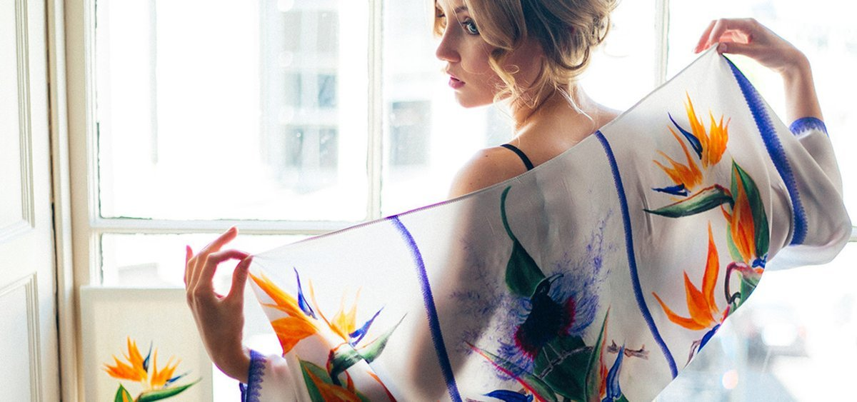 Silk Bolero Scarf Bird Of Paradise by Elle Smith Fashion