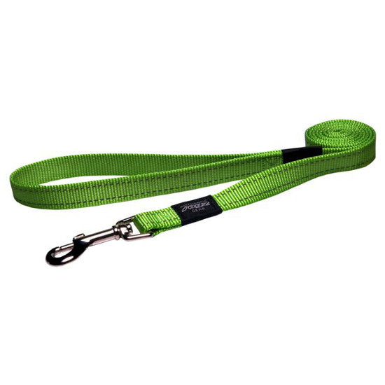 Rogz Long Fixed Utility Lead with Reflective Stitching - Lime - Various Sizes