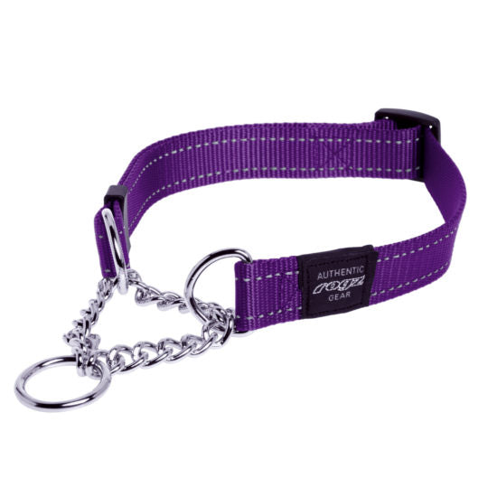 Rogz Obedience Half-Check Collar Utility with Reflective Stitching - Purple - Various Sizes