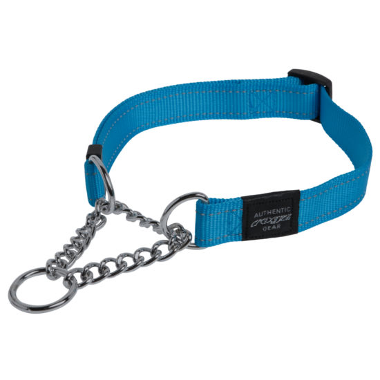 Rogz Obedience Half-Check Collar Utility with Reflective Stitching - Turquoise - Various Sizes