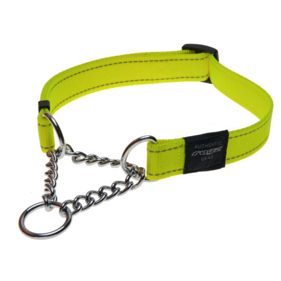 Rogz Obedience Half-Check Collar Utility with Reflective Stitching - Dayglo - Various Sizes