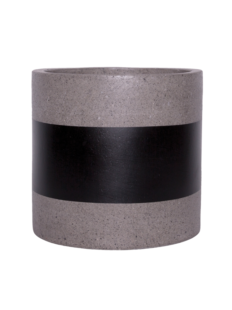 Hand Painted Pot - Cylinder Pot - Black Band