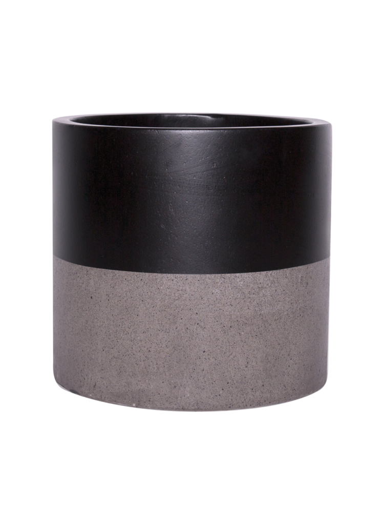 Hand Painted Pot - Cylinder Pot - Black Top