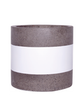 Hand Painted Pot - Cylinder Pot - White Band