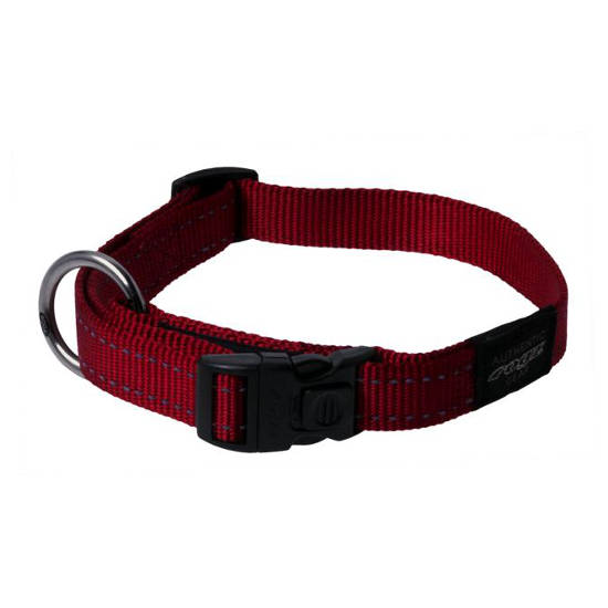 Rogz Side Release Dog Collar - Utility with Reflective Stitching - Red - Various Sizes