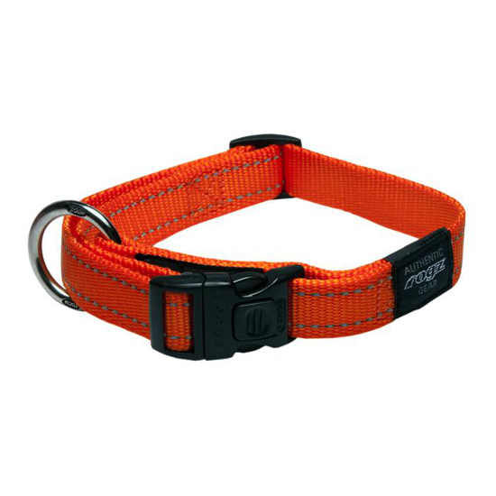 Rogz Side Release Dog Collar - Utility with Reflective Stitching - Orange - Various Sizes