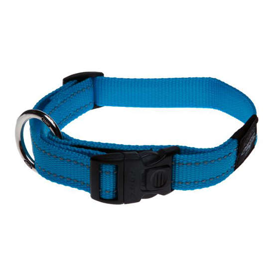 Rogz Side Release Dog Collar - Utility with Reflective Stitching - Turquoise - Various Sizes
